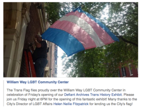 Trans Pride flag flies at William Way Center